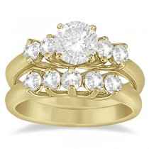 Five Stone Diamond Bridal Set Ring and Band in 14k Yellow Gold (0.90ct)