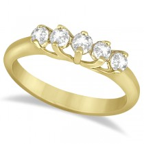Five Stone Diamond Wedding Band For Women 18k Yellow Gold (0.50ct)