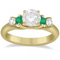 Five Stone Diamond and Emerald Engagement Ring 14k Yellow Gold (0.44ct)