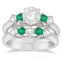 Five Stone Diamond and Emerald Bridal Ring Set 14k White Gold (0.98ct)
