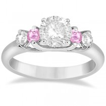 Five Stone Diamond & Pink Sapphire Engagement Ring 14k White Gold, 0.50ct