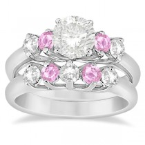 5 Stone Diamond & Pink Sapphire Bridal Ring Set 18k White Gold, 1.10ct