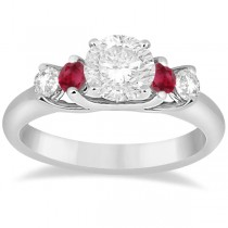 Five Stone Diamond and Ruby Engagement Ring 14k White Gold (0.50ct)