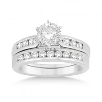 Channel Diamond Engagement Ring & Wedding Band 14k White Gold (0.35ct)