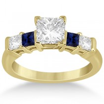 5 Stone Princess Diamond & Sapphire Engagement Ring 18K Y. Gold 0.46ct