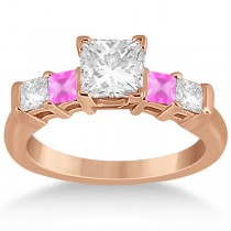 5 Stone Diamond & Pink Sapphire Engagement Ring 18K Rose Gold 0.46ct