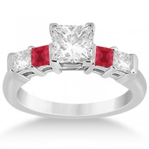 5 Stone Princess Diamond and Ruby Engagement Ring 14K White Gold 0.46ct