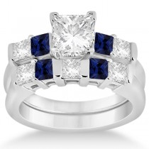 5 Stone Diamond & Blue Sapphire Bridal Set 14K White Gold 1.02ct