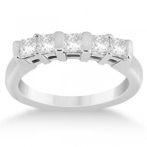 5 Stone Princess Cut Channel Set Diamond Ring 14K White Gold (0.50ct)