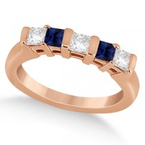5 Stone Diamond and Blue Sapphire Princess Ring 14K Rose Gold 0.56ct