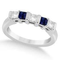 5 Stone Diamond and Blue Sapphire Princess Ring 14K White Gold 0.56ct