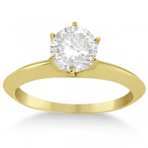 Knife Edge Six-Prong Solitaire Engagement Ring Setting 14k Yellow Gold