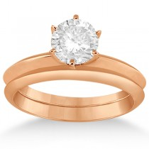 Six-Prong Wedding Ring With Matching Wedding Band in 14k Rose Gold