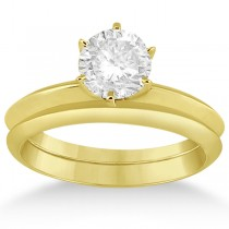 Six-Prong Wedding Ring With Matching Wedding Band in 14k Yellow Gold