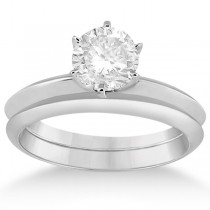Six-Prong Wedding Ring With Matching Wedding Band in 18k White Gold