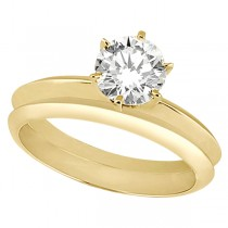 Six-Prong Wedding Ring With Matching Wedding Band in 18k Yellow Gold