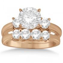 3 Stone Diamond Engagement Ring & Wedding Band Set 18K Rose Gold (1.10ct)