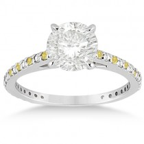 White and Yellow Diamond Engagement Ring Pave Set 14K White Gold 0.52ct