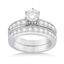 Princess Diamond Engagement Ring & Bridal Set 14k White Gold (1.10ct)