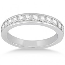 Channel Set Princess Diamond Wedding Band 14k White Gold (0.60ct)