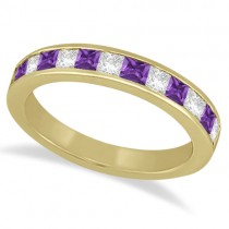 Channel Amethyst and Diamond Wedding Ring 18k Yellow Gold (0.70ct)