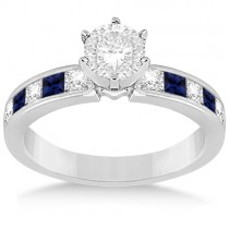 Channel Blue Sapphire & Diamond Engagement Ring 14k White Gold (0.60ct)