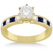 Channel Blue Sapphire & Diamond Engagement Ring 14k Yellow Gold (0.60ct)