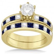Channel Blue Sapphire & Diamond Bridal Set 14k Yellow Gold (1.30ct)
