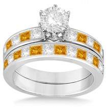 Channel Citrine & Diamond Bridal Set 14k White Gold (1.30ct)