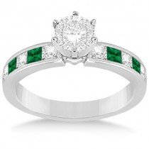 Channel Emerald & Diamond Engagement Ring 18k White Gold (0.50ct)