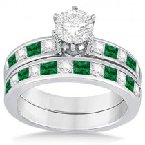 Channel Emerald & Diamond Bridal Set 14k White Gold (1.10ct)