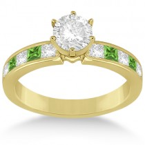 Channel Peridot and Diamond Engagement Ring 18k Yellow Gold (0.60ct)