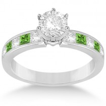 Channel Peridot & Diamond Engagement Ring Platinum (0.60ct)