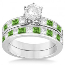 Channel Peridot & Diamond Bridal Set 18k White Gold (1.30ct)