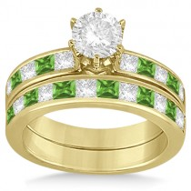 Channel Peridot and Diamond Bridal Set 18k Yellow Gold (1.30ct)