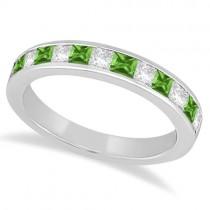 Channel Peridot & Diamond Wedding Ring 14k White Gold (0.70ct)