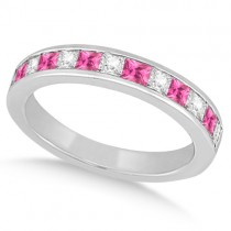 Channel Pink Sapphire & Diamond Wedding Ring Palladium (0.70ct)