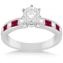 Channel Ruby & Diamond Engagement Ring 14k White Gold (0.60ct)