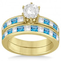 Channel Blue Topaz and Diamond Bridal Set 18k Yellow Gold (1.30ct)