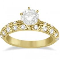 Designer Diamond Engagement Ring Setting 14k Yellow Gold (0.70ct)