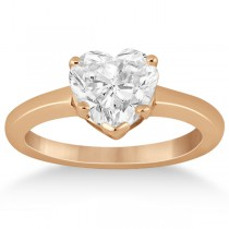 Heart Shaped Solitaire Diamond Engagement Ring Setting in 14k Rose Gold