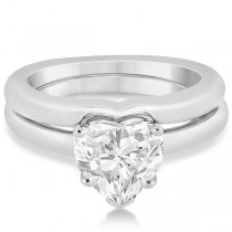 Heart Shaped Engagement Ring & Wedding Band Bridal Set 14k White Gold