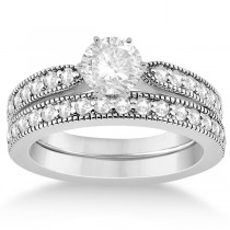 Cathedral Diamond Accented Vintage Bridal Set in 14k W. Gold (0.62ct)