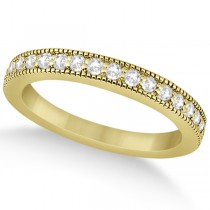 Pave Set Diamond Wedding Band Milgrain Edged in 18k Yellow Gold (0.34ct)
