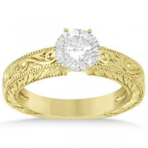Filigree Designed Solitaire Engagement Ring Setting 14K Yellow Gold
