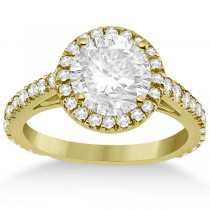 Eternity Pave Halo Diamond Engagement Ring 14K Yellow Gold (0.72ct)