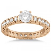 Eternity Diamond Engagement Ring Setting Womens 14K Rose Gold 0.40ct