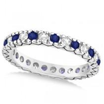 Diamond & Blue Sapphire Eternity Wedding Band 14k White Gold (0.45ct)