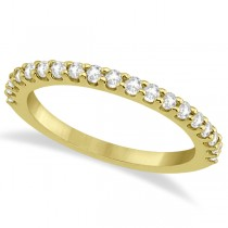 Diamond Semi Eternity Wedding Band Pave Set 18K Yellow Gold (0.38ct)
