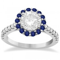 Halo Diamond & Blue Sapphire Engagement Ring Palladium (1.16ct)